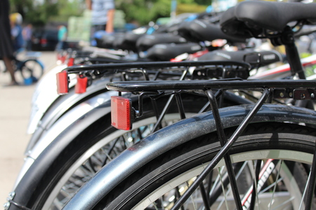 rend: Its a photo of parked bikes.