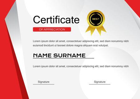 creative red certificate of achievement template with gold badge vector design Vector Illustratie