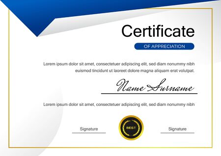 modèle de certificat de réussite bleu créatif avec conception de vecteur d'insigne d'or Vecteurs