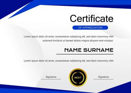 Kreative blaue Vorlage für das Leistungszertifikat mit Goldabzeichen-Vektordesign Vektorgrafik