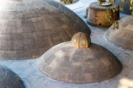 Roof of an old steam bath in Baku. Ancient buildings of Azerbaijan. Icheri sheher. Middle East.