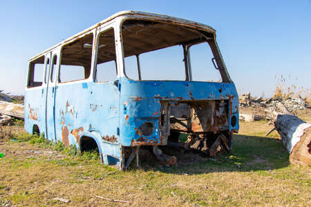 Abandoned old bus. Rusted old blue van. Made in USSR.