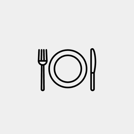 thin line cutlery and dish icon vector