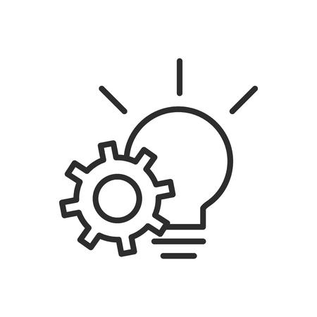 Icône de ligne vectorielle liée à la stratégie commerciale, vecteur d'icône de mise en œuvre