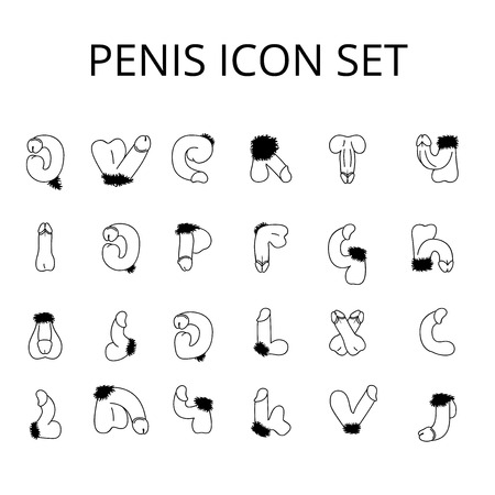 Penis Vector Icon set