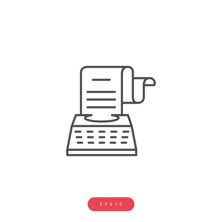 Typewriter Vector Icon Business Management Related Vector Line Icon. Editable Stroke. 1000x1000 Pixel Perfect