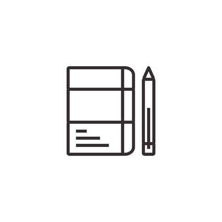 Pencil and Notebook, Stationary Vector Icon, Pixel perfect Eps10. Office Symbol