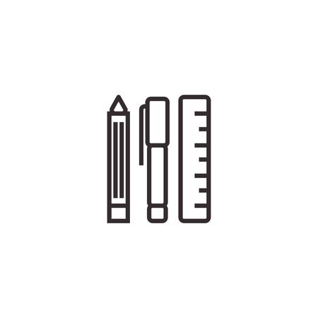 Stationary Set, Pencil and ruler Vector Icon, Pixel perfect Eps10. Office Symbol