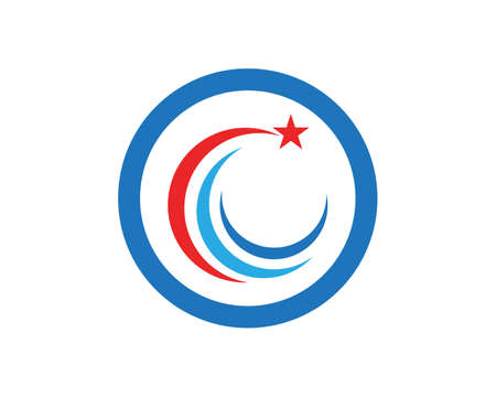 Red and blue Star falcon Logo Template vector icon 矢量图像