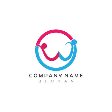 W Letter Community Care Logo Template Vector