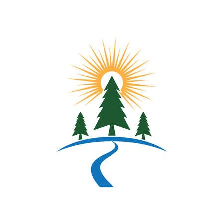 Cedar tree Logo template illustration design Ilustração