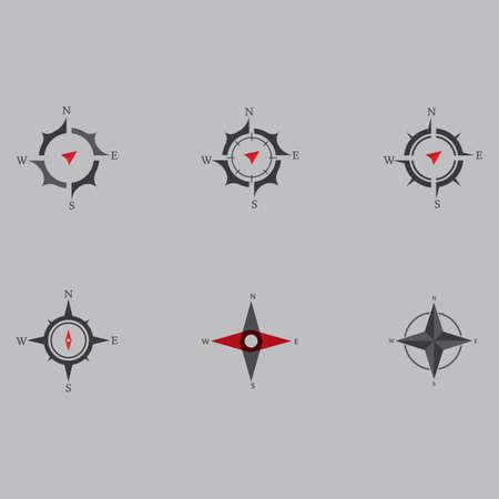 Set Compass Logo and symbol template vector illustration icon Ilustração