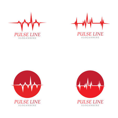 Pulse line red logo vector icon