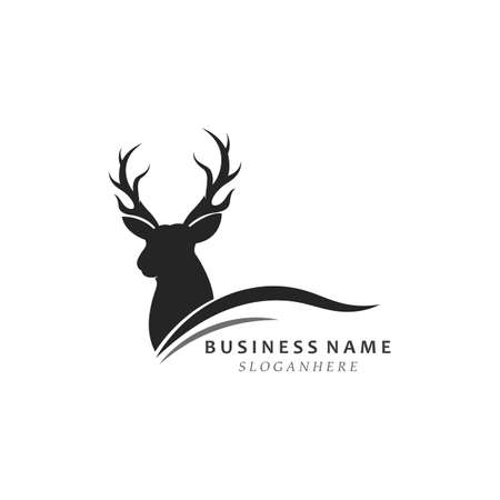 Deer antler illustration logo vector template