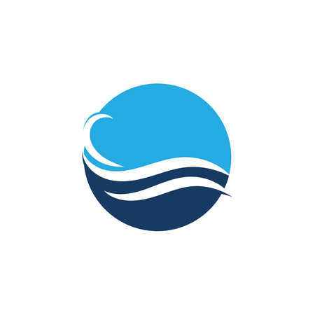 Water Wave Icon Logo TemplateVector Logo with yellow sun and blue sea waves