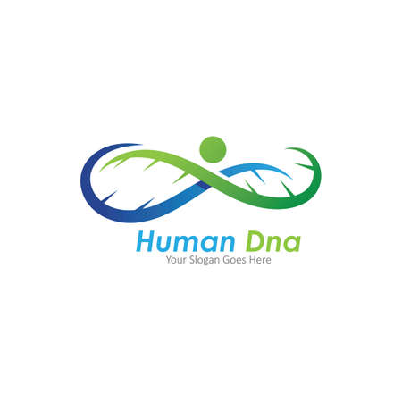 Human DNA and genetic vector icon design