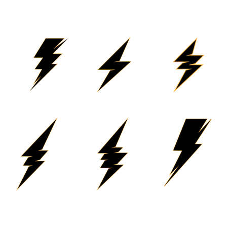 lightning thunderbolt electricity logo design template