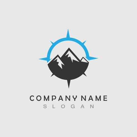 Mountain adventure logo design. Compass icon symbol