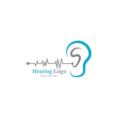 hearing logo and symbol template vector icon