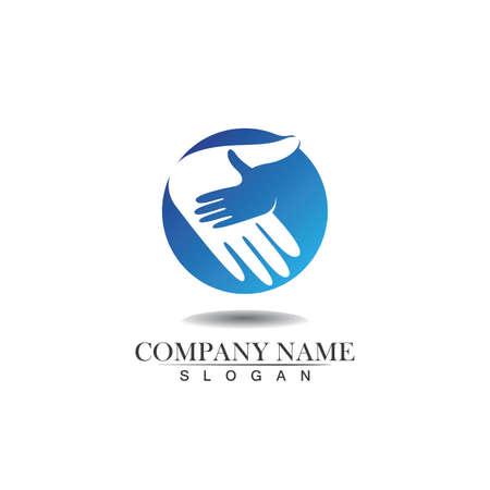 Hands Care Love Logo Template