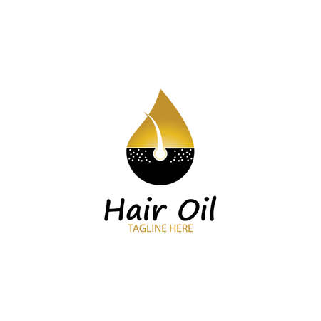 hair oil essential logo with drop oil and hair logo symbol-vector