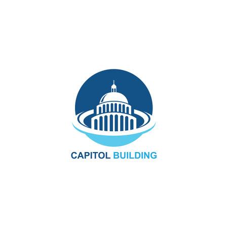 capitol building logo design vector icon Logos