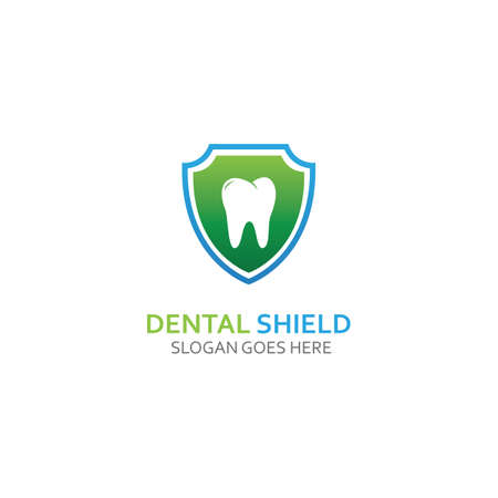 Dental shield Logo template design vector, emblem, design concept, creative symbol