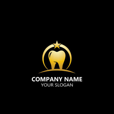 Gold tooth logo illustration design