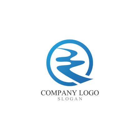R Letter River Logo Template Vector Illustration