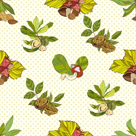 macadamia: Seamless pattern composed of different nuts with leaves, colored Illustration