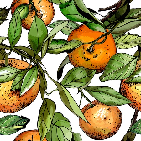 Seamless pattern, watercolor tangerines, hand drawn illustration Иллюстрация