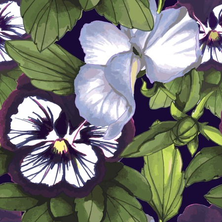 violas: Flowers Seamless Pattern , violas on dark background Illustration