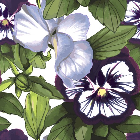 violas: Flowers Seamless Pattern composed of violas, watercolor, hand drawn