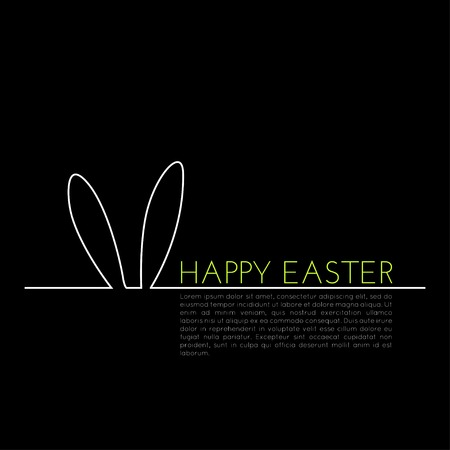 Linear concept, easter greeting card with bunny ears silhouette