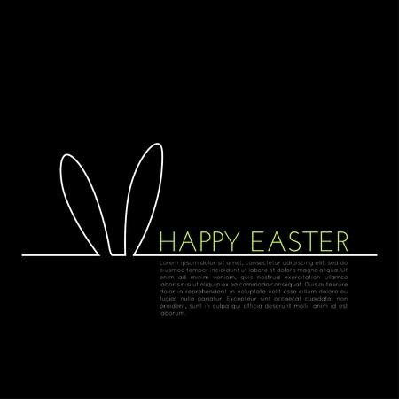 Linear-Konzept, Ostern-Grußkarte mit den Häschenohren silhouette