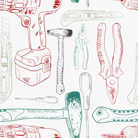 Seamless pattern, working tools in sketch style, colored shapes Vector