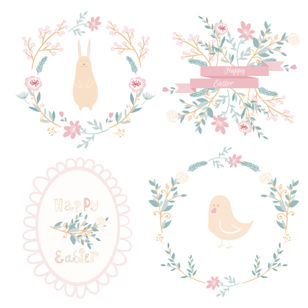 Set of vector easter frames and elements, doodle and cartoon style Vector