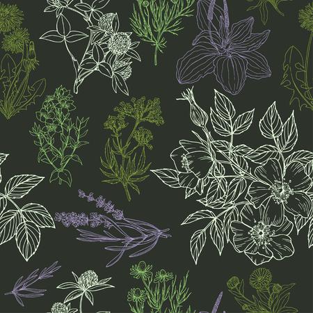 Color vector seamless pattern in green and purple colors, dark background. Векторная Иллюстрация