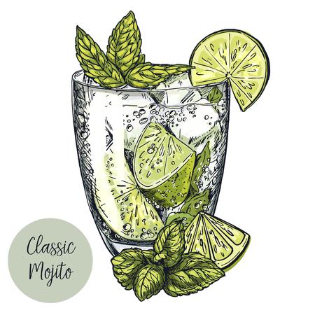 モヒート カクテル、ライムのスライスとミントの葉の手描きのベクトル カラフルなスケッチ イラストとかわいいカード デザイン