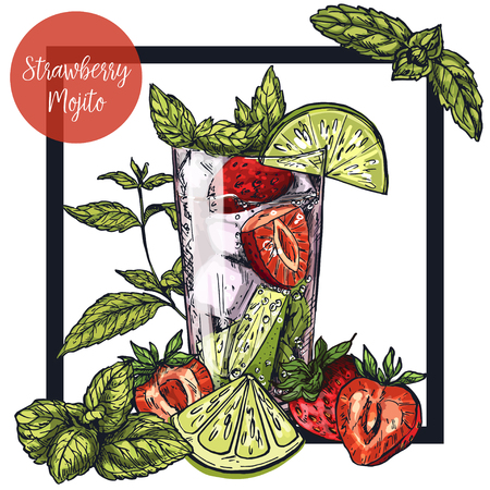 Square framed card with strawberry mojito with lime and strawberries, surrounded by mint leaves, vector realistic colorful sketch illustration Illustration