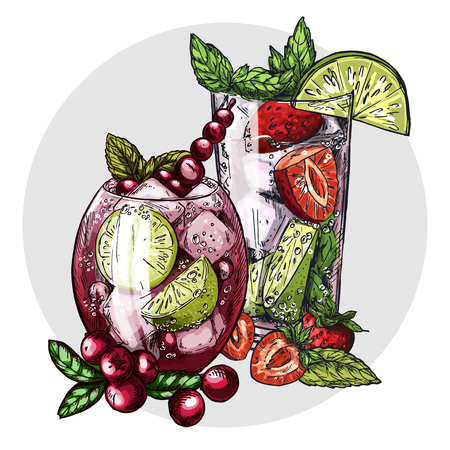 Set of two mojito cocktails, cranberry and strawberry in glasses, on the light grey round background, colorful sketch vector illustration. Card or menu design.