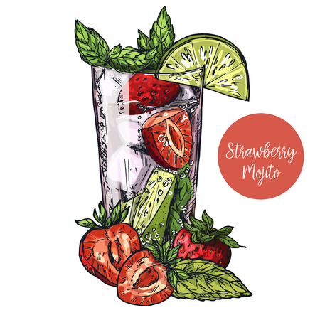 Cute card design with hand-drawn vector colorful sketch illustration of mojito cocktail, strawberry, lime and mint leaves Vectores