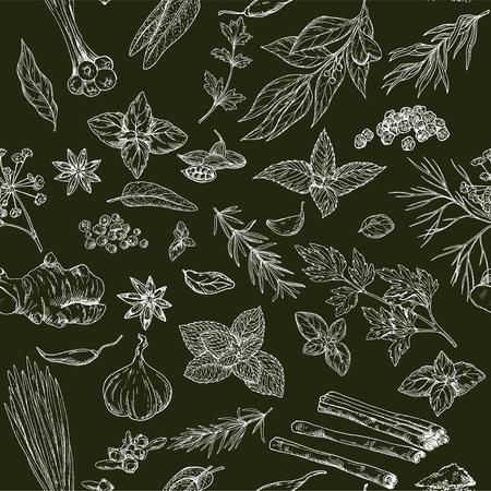 Modèle sans couture avec dessinés à la main des herbes culinaires et des épices sur fond noir, illustration vectorielle Banque d'images - 82433903