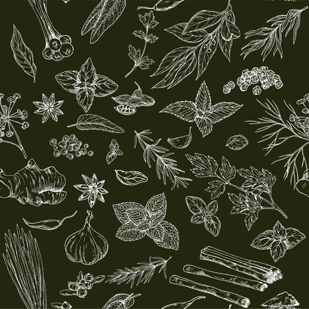 Seamless pattern with hand drawn culinary herbs and spices on black background, vector illustration Ilustração