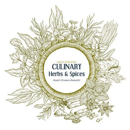Cadre de corde ronde entouré d'herbes culinaires et d'épices, illustration vectorielle Banque d'images - 82433907