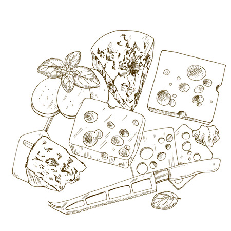 Pile of hand drawn cheese with basil and cheese knife. Vector hand drawn illustration. Illustration