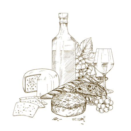 Pile of hand drawn cheese with wine bottle, glass of wine and grape. Vector hand drawn illustration, restaurant design.