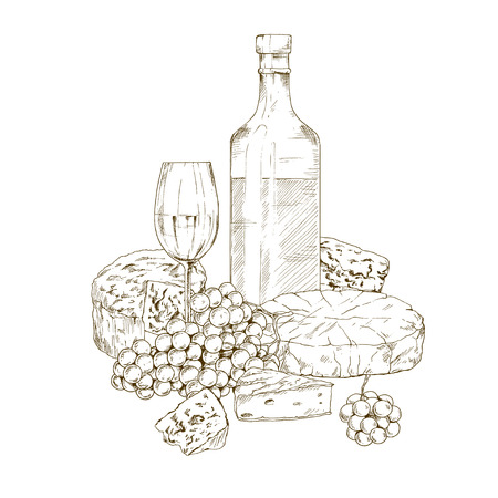Pile of hand drawn cheese with wine bottle, glass of wine and grape. Vector hand drawn illustration for restaurants and menu.