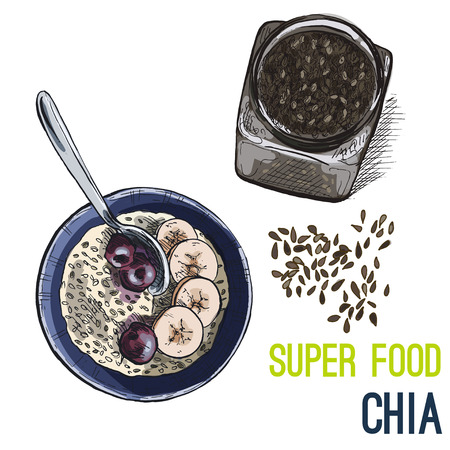 Chia seeds. Full color super food hand drawn sketch vector illustration. Illustration