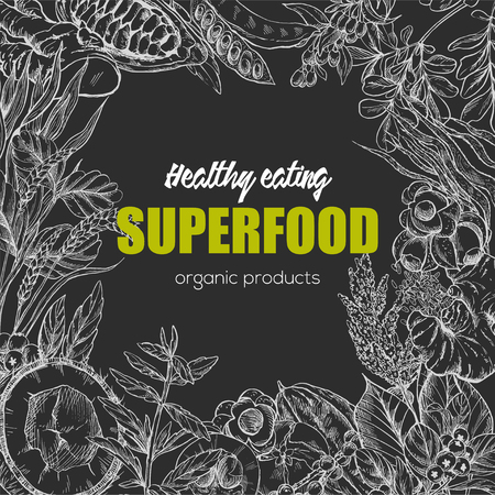 Superfood, realistic sketch frame design for vegan cafe or restaurant. Hand drawn vector illustration. Kelp, cacao, ginger, moringa, blueberry, goji, stevia, seeds, grain. Stock Vector - 83220160